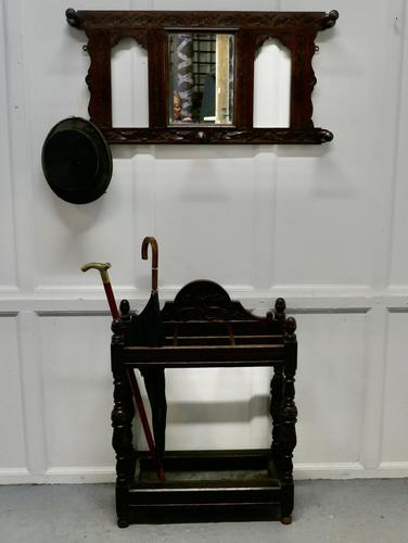 Victorian Carved Oak Stick Stand & Matching Mirror Set (1 of 9)