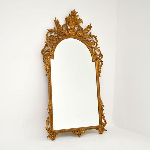 Large Mid Century French Carved Giltwood Mirror (1 of 10)