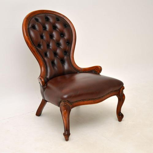 Victorian Style Leather Spoon Back Chair (1 of 9)