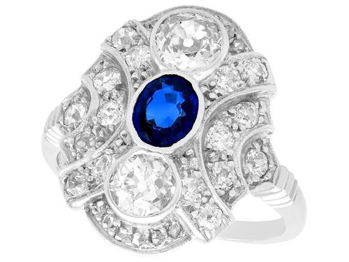 0.63ct Sapphire & 1.64ct Diamond, 18ct White Gold Dress Ring c.1935 (1 of 9)