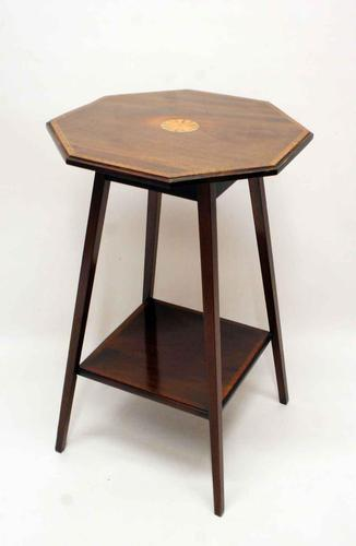 Edwardian 2 tier inlaid Mahogany Octagonal,  wine or occasional table (1 of 9)