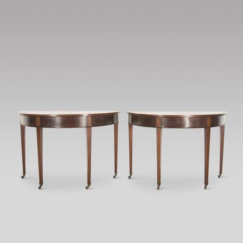 Pair of 19th Century Mahogany Demi Lune Tables (1 of 4)