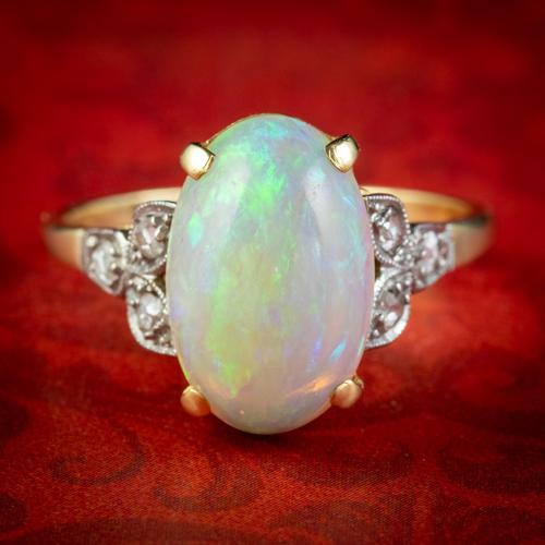 Antique Edwardian Natural Opal Diamond Ring 18ct Gold 5.50ct Opal c.1901 (1 of 7)