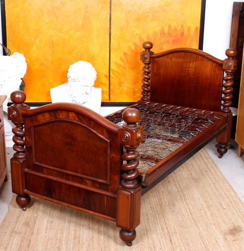 Bed Frame Edwardian Carved Mahogany Barley Twist (1 of 11)