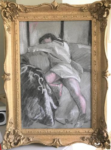 Original pastel 'Sleeping figure' by Dennis Gilbert NEAC. B.1922. From a studio collection (1 of 2)