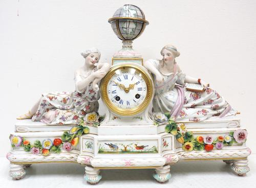 Original Meissen Porcelain Mantel Clock Figural Striking 8-Day Mantle Clock c.1860 (1 of 6)