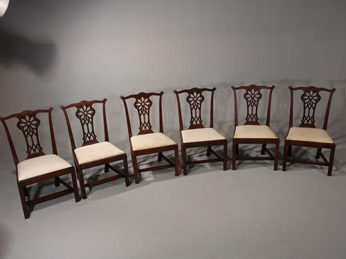 Well Carved Set of 6 George III Chippendale Period Mahogany Chairs (1 of 5)