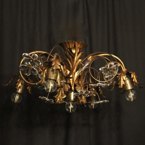 Italian Gilded Florentine 5 Light Plaffonier (1 of 10)