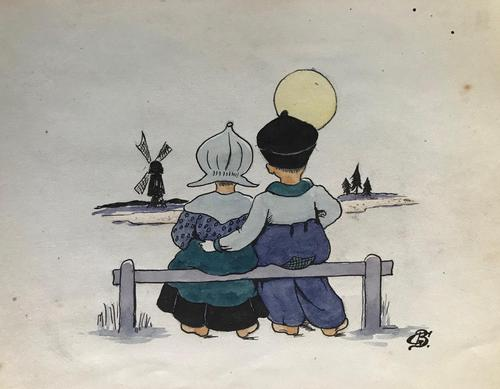 Original watercolour 'A Dutch boy and girl sitting on a fence. Initialled CS. c.1920 (1 of 2)