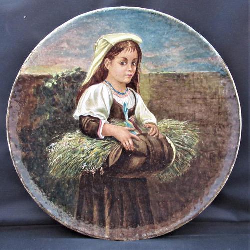 Hand Painted Copeland Art Pottery Decorative Plate, Dobbin's Breakfast, c1870 (1 of 5)