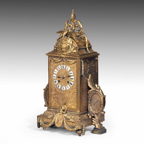 Unusual French Gilt Bronze Mantel Clock (1 of 6)
