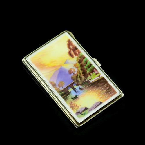 English Solid Silver Enamel Cigarette Case with Landscape Scene - A.J.P London 1927 (1 of 14)