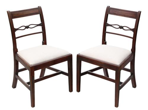 Pair of Georgian mahogany dining side hall bedroom chairs C1800 (1 of 7)