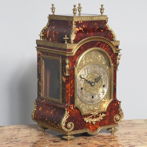 Tortoiseshell & Ormolu Mantel Clock (1 of 9)