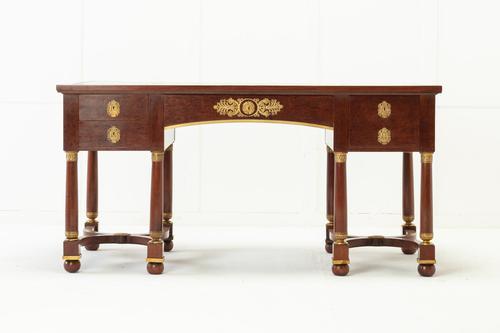 19th Century French Plum Pudding Mahogany Bureau Plat (1 of 11)