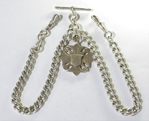 Antique Silver Double Watch Albert & Fob (1 of 2)