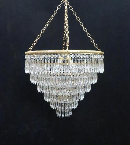 Italian Art Deco Six Tier Crystal Glass Chandelier (1 of 8)
