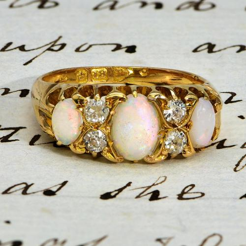 The Antique Late Victorian Three Opal & Four Diamond Ring (1 of 3)