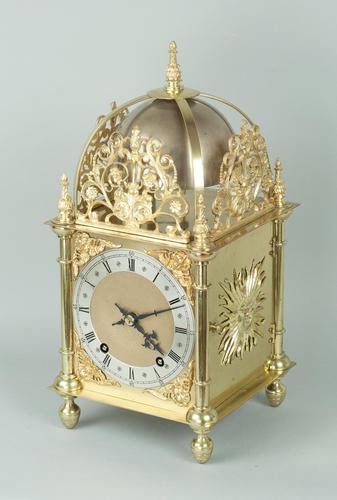 Fine Quality Late Victorian Brass W&H Lantern Mantel Clock (1 of 9)