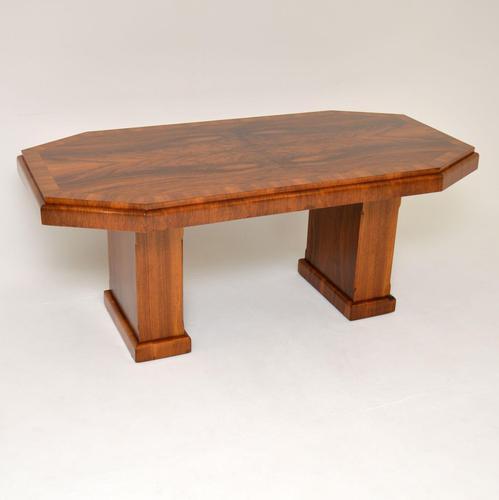 1920's Art Deco Figured Walnut Dining Table (1 of 10)