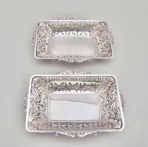 Unusual Pair of Victorian Silver Bonbon Dishes by Minshull & Latimer, Birmingham 1898 (1 of 5)
