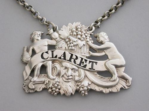 George III Cast Silver Two Putti with Jug & Bottle Wine Label 'Claret' - London, 1809 (1 of 6)