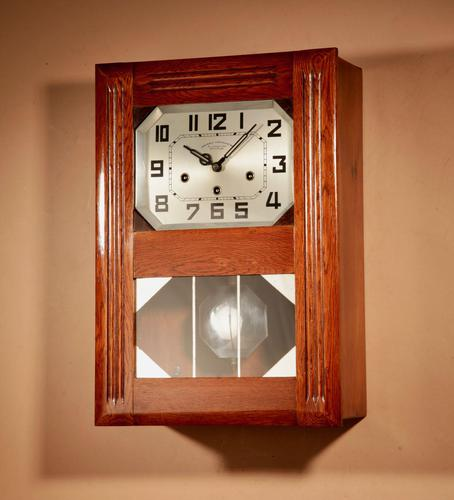Art Deco Westminster Girod Carillon Oak, Rosewood & Fruitwood Wall Clock French c.1940 (1 of 9)