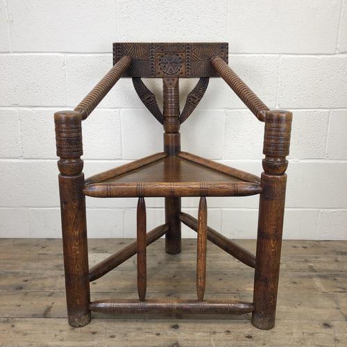 Antique Carved Oak Corner Chair (1 of 10)