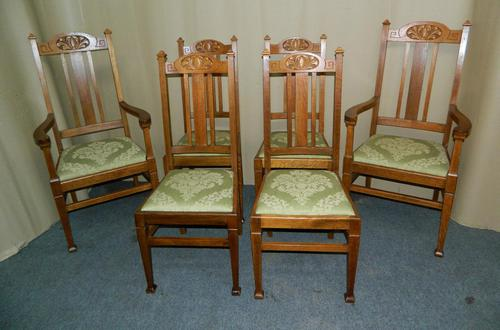 Set of 6 Oak Arts & Crafts Dining Chairs (1 of 7)