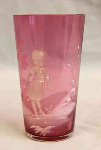 Antique  Cranberry Glass Tot by Mary Gregory (1 of 5)