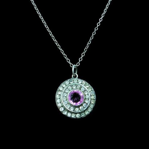 Antique Pink Paste Sterling Silver Round Halo Pendant Necklace (1 of 10)