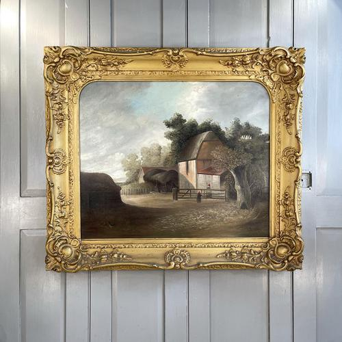 Antique Large Victorian Landscape Oil Painting of a Farm Signed J Howard (1 of 10)