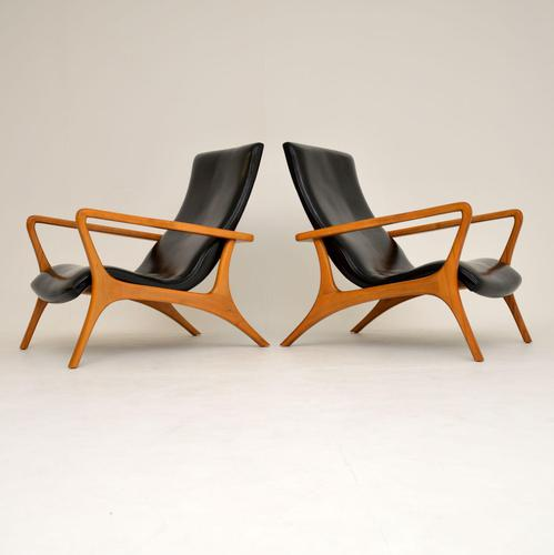 Pair of Vintage Leather Armchairs in the Manner of Vladimir Kagan (1 of 15)