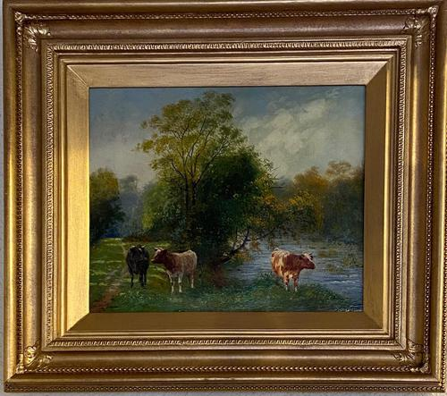 """Oil on Canvas """"Cattle Grazing"""" by Wilson Hepple (1 of 3)"""