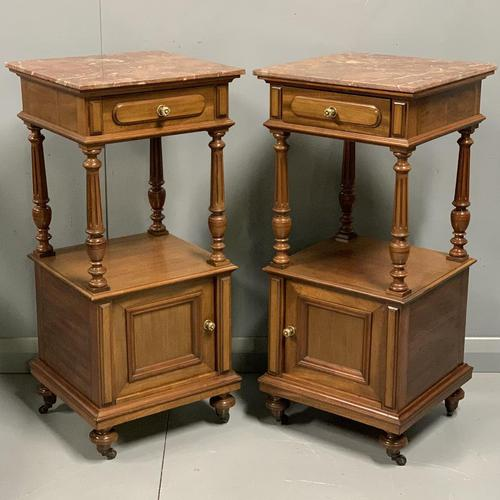 Pair of French Walnut Bedside Cabinets (1 of 8)
