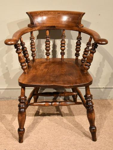 19th Century Elm Smokers Bow Armchair (1 of 6)