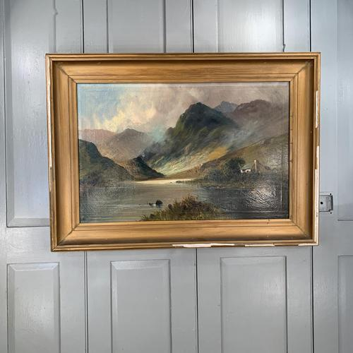Antique large Scottish landscape oil painting of cottage by loch signed Montgomery Ansell (1 of 10)