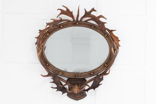 19th Century Oval Antler Mirror (1 of 7)