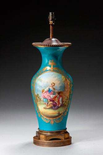 Late 19th Century Sevres Style Porcelain Vase Lamp (1 of 5)