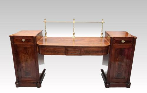 Georgian Figured Mahogany Pedestal Sideboard (1 of 14)