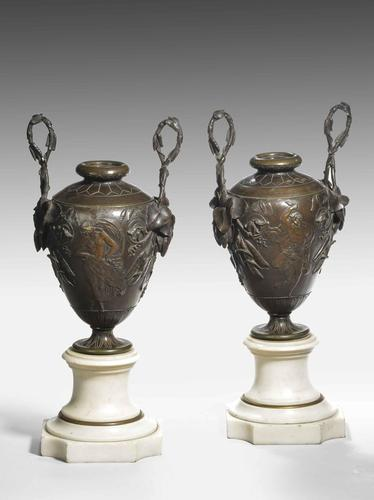 A Fine Pair of Patinated Bronze and Marble Urn Shaped Vases (1 of 5)