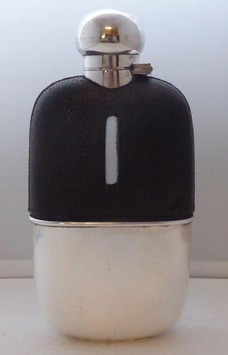 1920's Leather Bound Glass and Silver Plated Hip Flask (1 of 8)