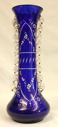 Antique Impressive Bristol Blue Glass Decorated Vase (1 of 7)