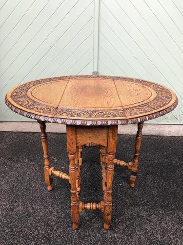 Antique Carved Oak Drop Leaf Table (1 of 7)