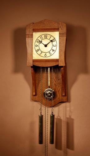 Small Very Stylish Blond Oak Wall Clock in Bauhaus Style (1 of 8)