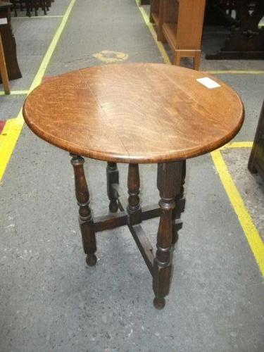Circular Folding Oak Occasional Table (1 of 4)