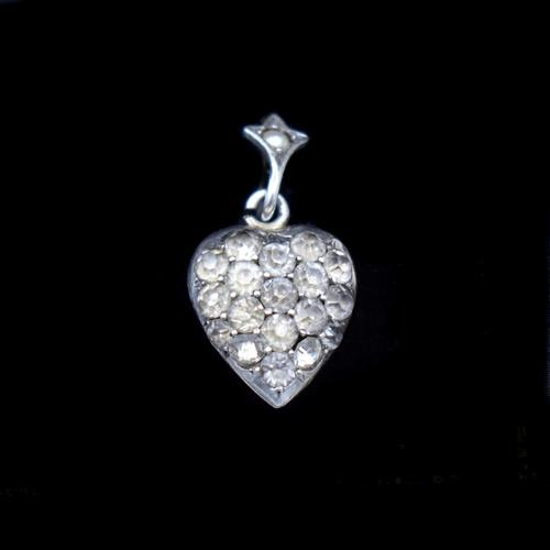 Antique Old Cut Paste Sterling Silver Puffy Heart Pendant Charm (1 of 8)