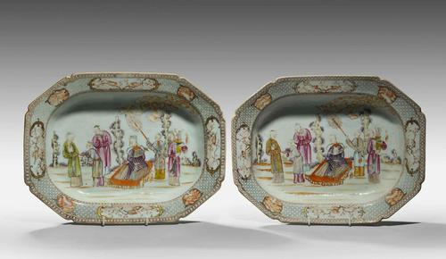 Rare Pair of 18th Century Chinese Deep Rectangular Dishes (1 of 6)