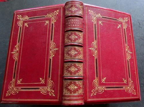 1873 Poetical Works of Lord Byron Fine Full Red & Gilt Leather Binding (1 of 5)