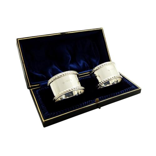 Pair of Antique Edwardian Sterling Silver Napkin Rings in Case 1909 (1 of 9)